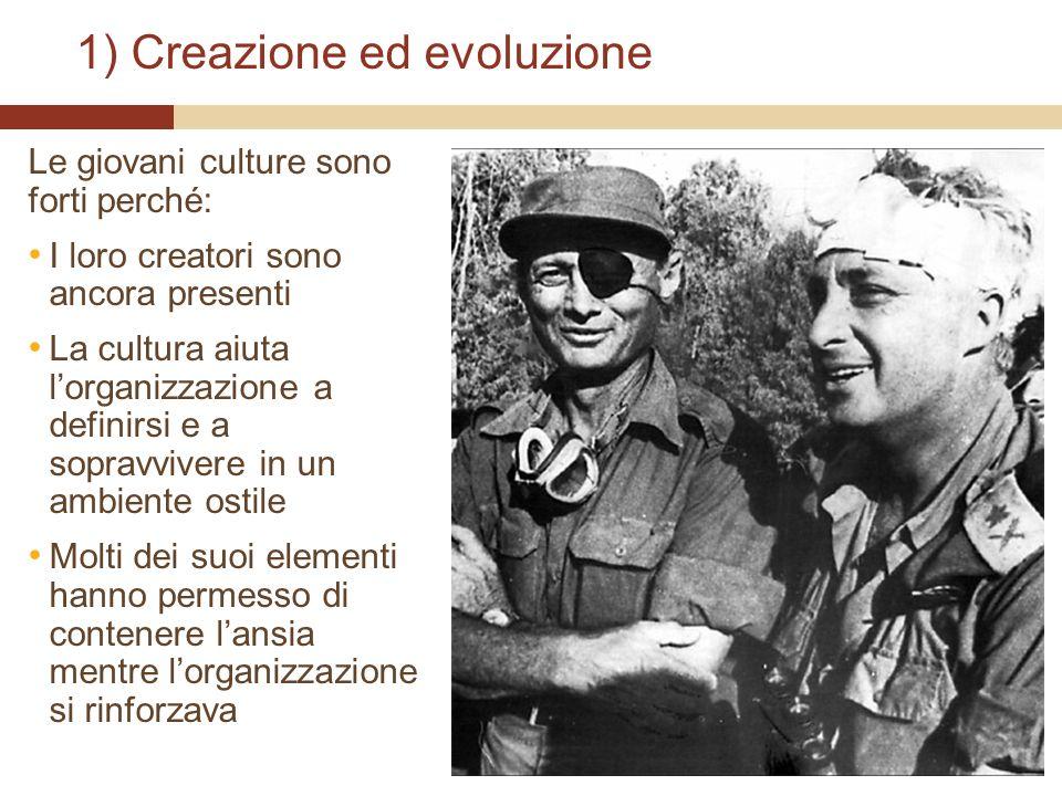 1) Creazione ed evoluzione Le giovani culture sono forti perché: I loro creatori sono ancora presenti La cultura aiuta lorganizzazione a definirsi e a