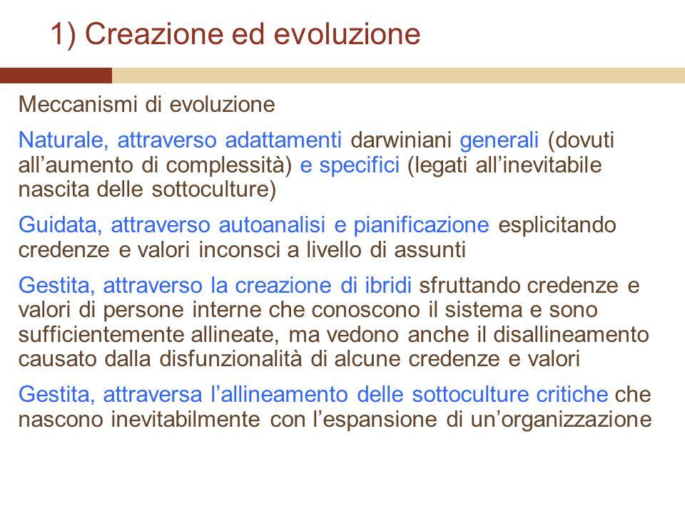 1) Creazione ed evoluzione Meccanismi di evoluzione Naturale, attraverso adattamenti darwiniani generali (dovuti allaumento di complessità) e specific