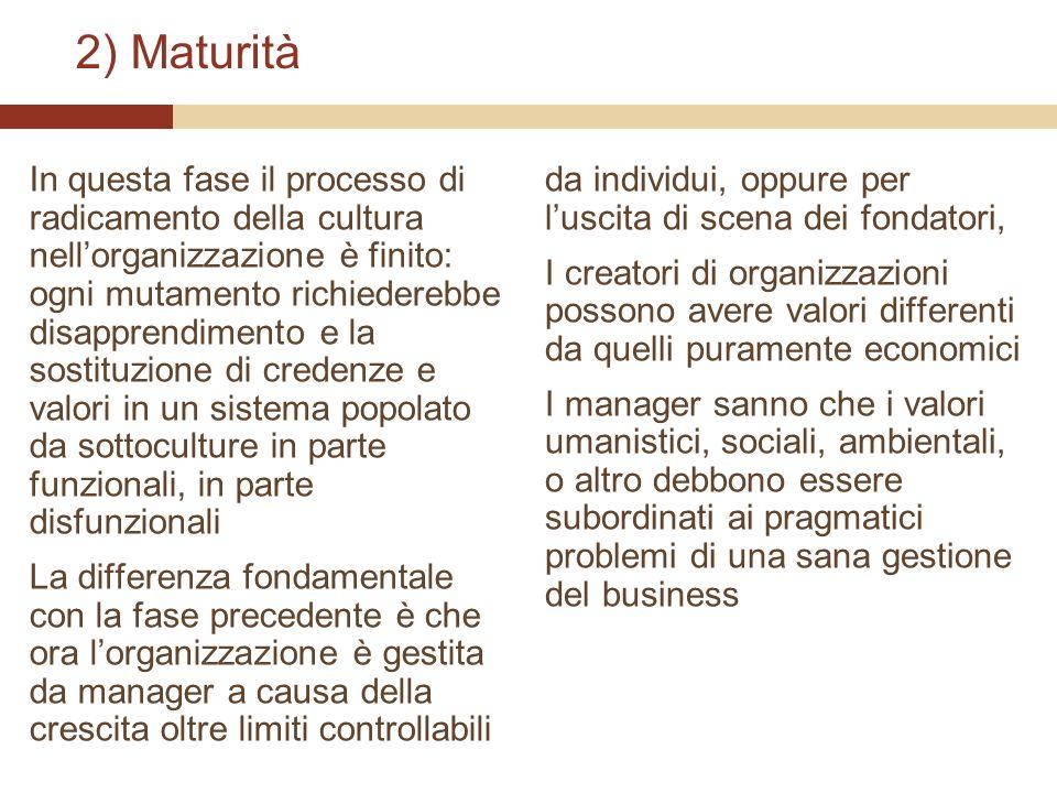 2) Maturità In questa fase il processo di radicamento della cultura nellorganizzazione è finito: ogni mutamento richiederebbe disapprendimento e la so