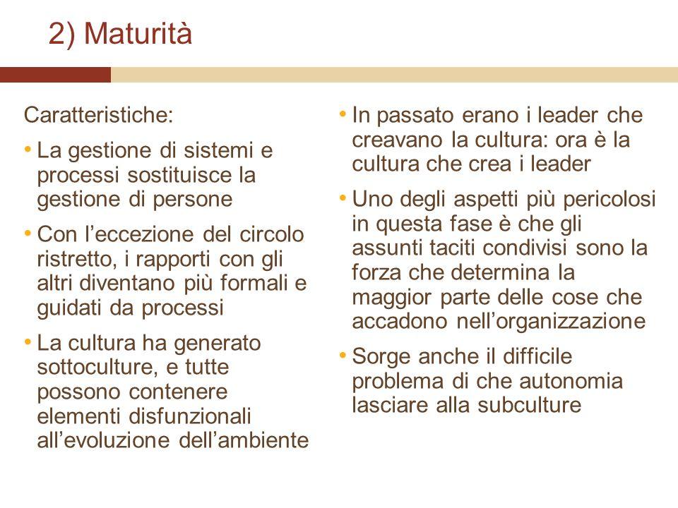 2) Maturità Caratteristiche: La gestione di sistemi e processi sostituisce la gestione di persone Con leccezione del circolo ristretto, i rapporti con
