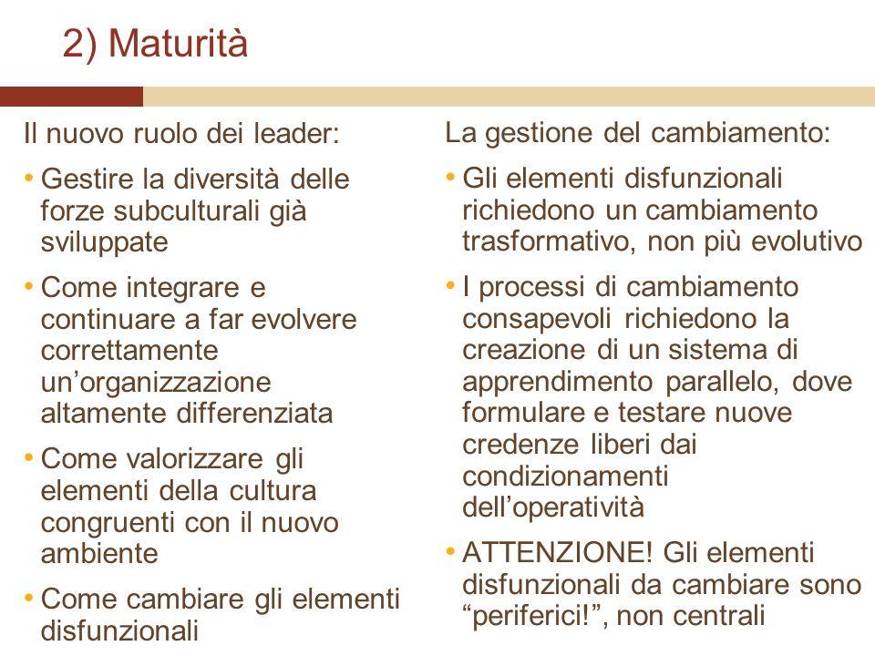 2) Maturità Il nuovo ruolo dei leader: Gestire la diversità delle forze subculturali già sviluppate Come integrare e continuare a far evolvere corrett