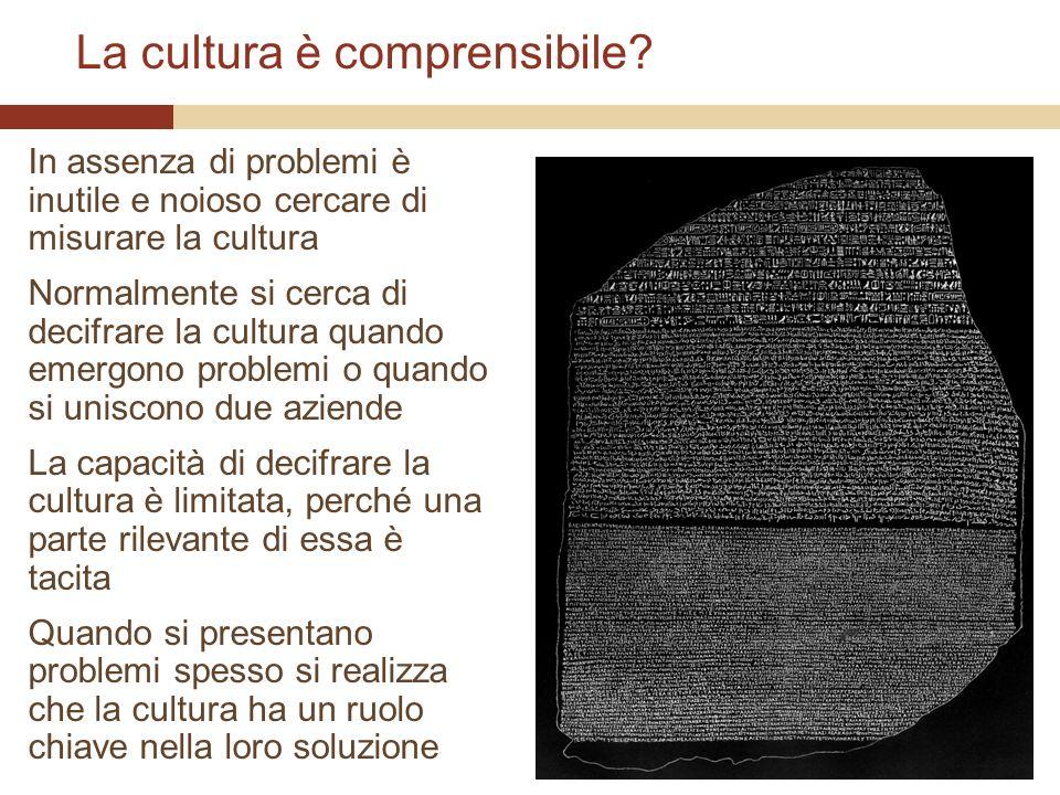 La cultura è comprensibile? In assenza di problemi è inutile e noioso cercare di misurare la cultura Normalmente si cerca di decifrare la cultura quan