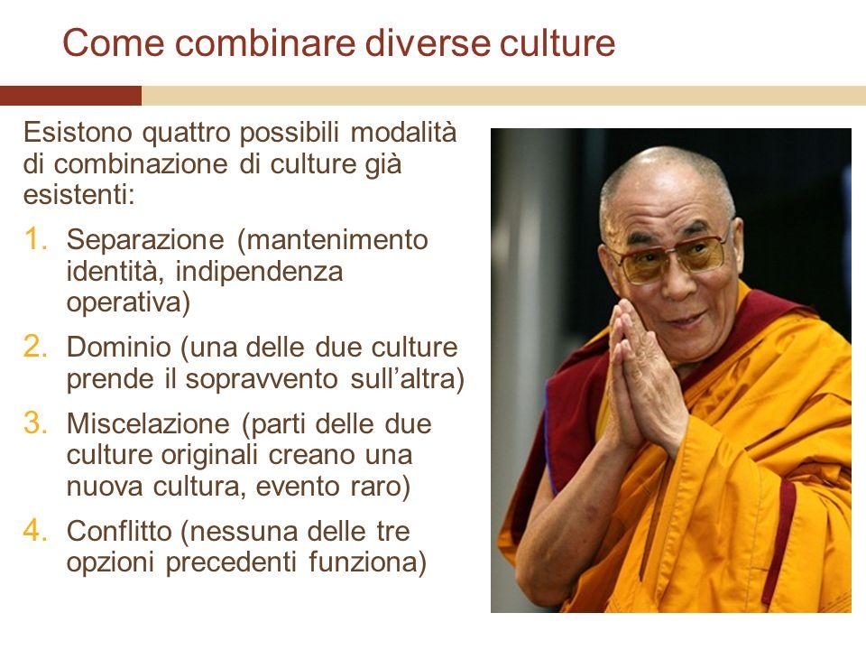 Come combinare diverse culture Esistono quattro possibili modalità di combinazione di culture già esistenti: 1. Separazione (mantenimento identità, in