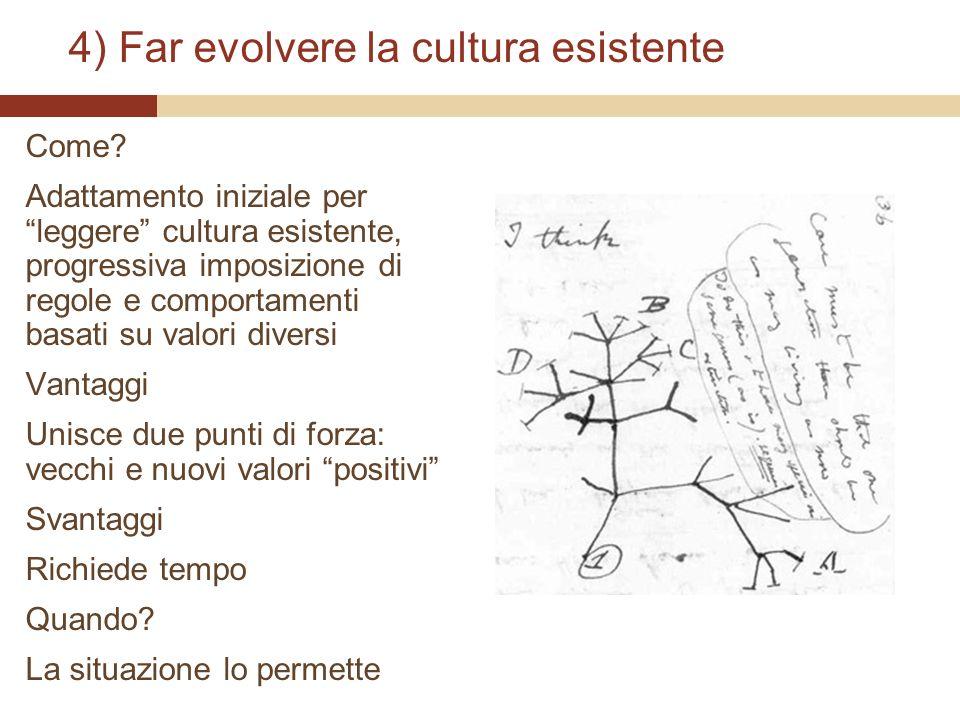 4) Far evolvere la cultura esistente Come? Adattamento iniziale per leggere cultura esistente, progressiva imposizione di regole e comportamenti basat