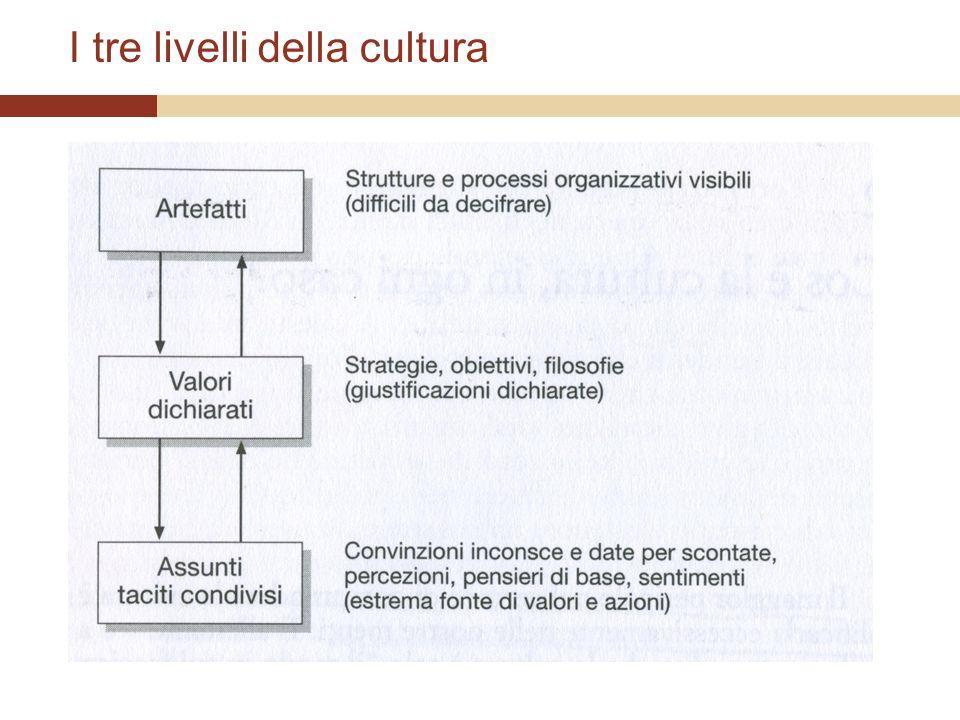 I tre stadi di sviluppo della cultura Gli stadi seguono levoluzione organizzativa.