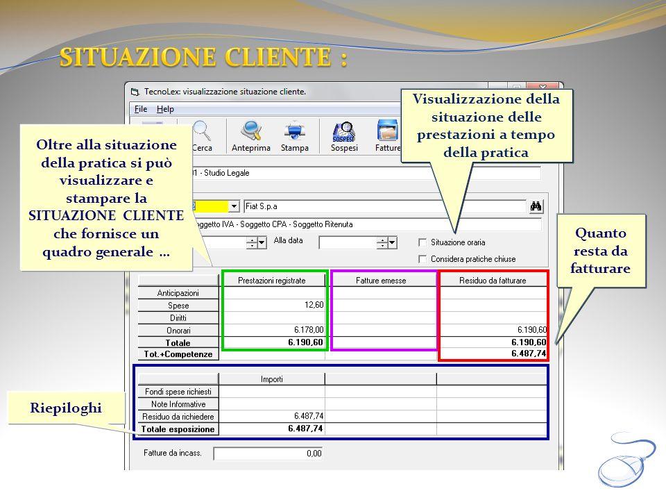 Riepiloghi Oltre alla situazione della pratica si può visualizzare e stampare la SITUAZIONE CLIENTE che fornisce un quadro generale … Quanto resta da