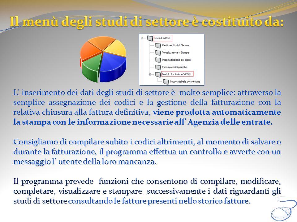 L' inserimento dei dati degli studi di settore è molto semplice: attraverso la semplice assegnazione dei codici e la gestione della fatturazione con l