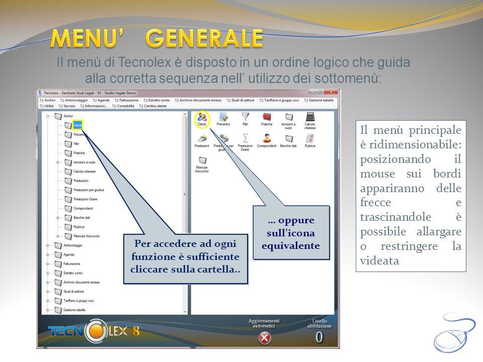 Il menù di Tecnolex è disposto in un ordine logico che guida alla corretta sequenza nell utilizzo dei sottomenù: … oppure sullicona equivalente Per ac