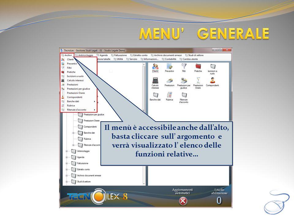 Il menù è accessibile anche dallalto, basta cliccare sull argomento e verrà visualizzato l elenco delle funzioni relative…