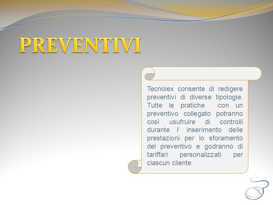 Tecnolex consente di redigere preventivi di diverse tipologie. Tutte le pratiche con un preventivo collegato potranno così usufruire di controlli dura