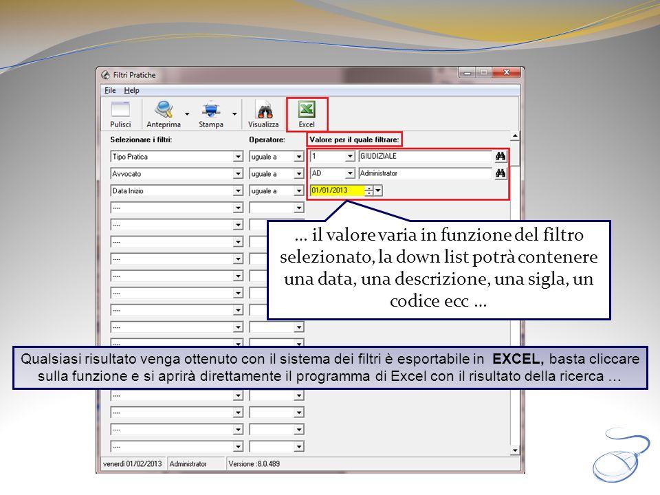 … il valore varia in funzione del filtro selezionato, la down list potrà contenere una data, una descrizione, una sigla, un codice ecc … Qualsiasi ris