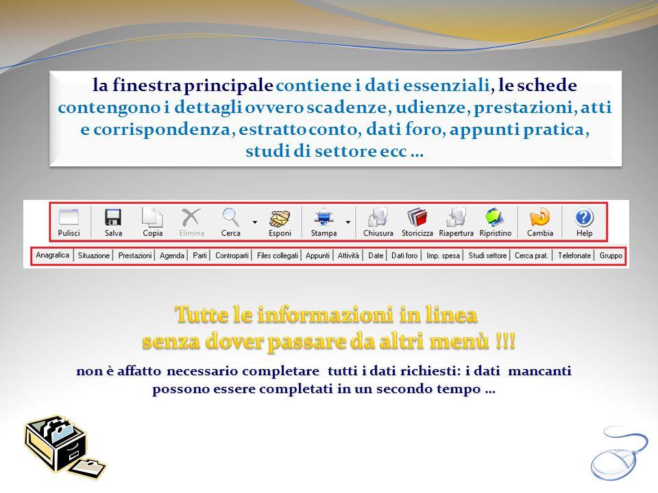 la finestra principale contiene i dati essenziali, le schede contengono i dettagli ovvero scadenze, udienze, prestazioni, atti e corrispondenza, estra