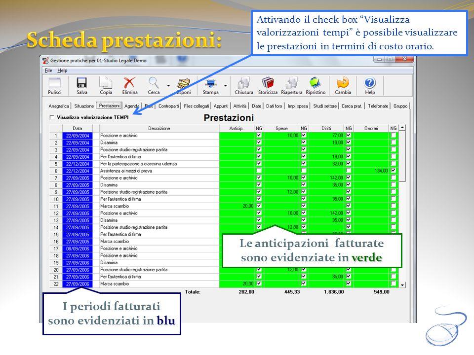 verde Le anticipazioni fatturate sono evidenziate in verde blu I periodi fatturati sono evidenziati in blu Attivando il check box Visualizza valorizza