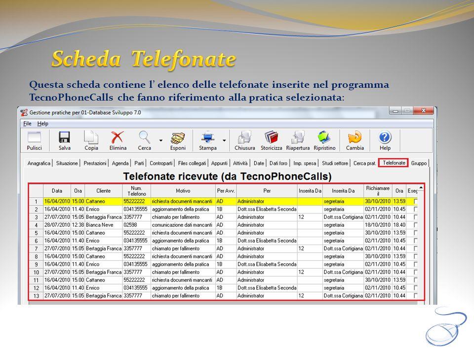 Questa scheda contiene l elenco delle telefonate inserite nel programma TecnoPhoneCalls che fanno riferimento alla pratica selezionata: