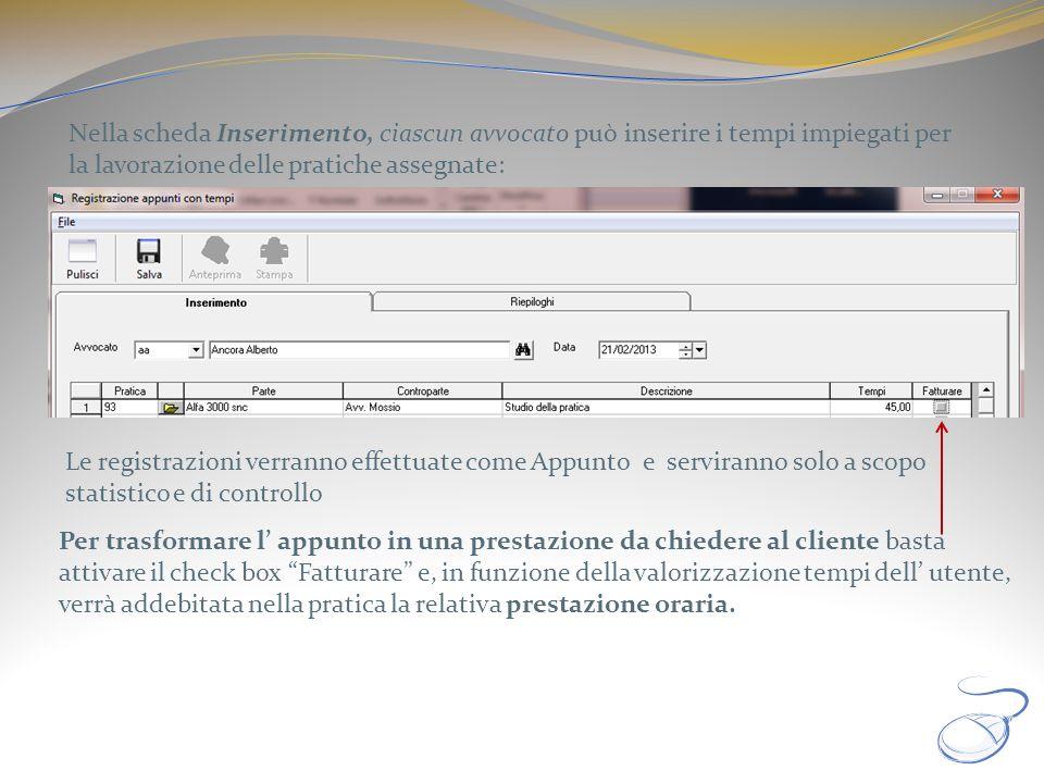 Nella scheda Inserimento, ciascun avvocato può inserire i tempi impiegati per la lavorazione delle pratiche assegnate: Le registrazioni verranno effet