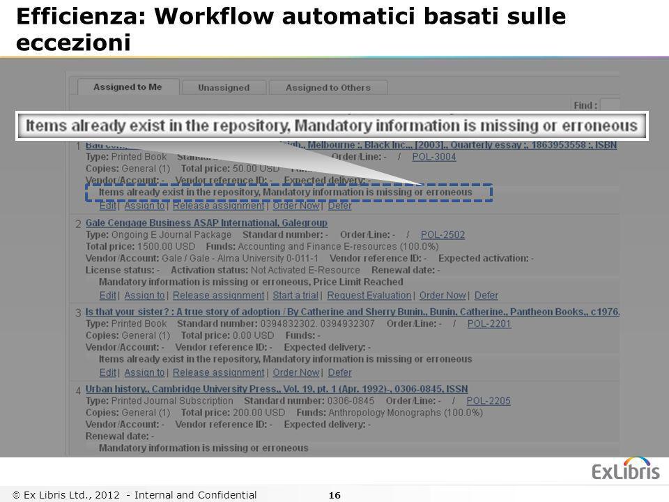 16 Ex Libris Ltd., 2012 - Internal and Confidential Efficienza: Workflow automatici basati sulle eccezioni