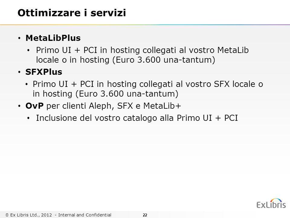 22 Ottimizzare i servizi MetaLibPlus Primo UI + PCI in hosting collegati al vostro MetaLib locale o in hosting (Euro 3.600 una-tantum) SFXPlus Primo U
