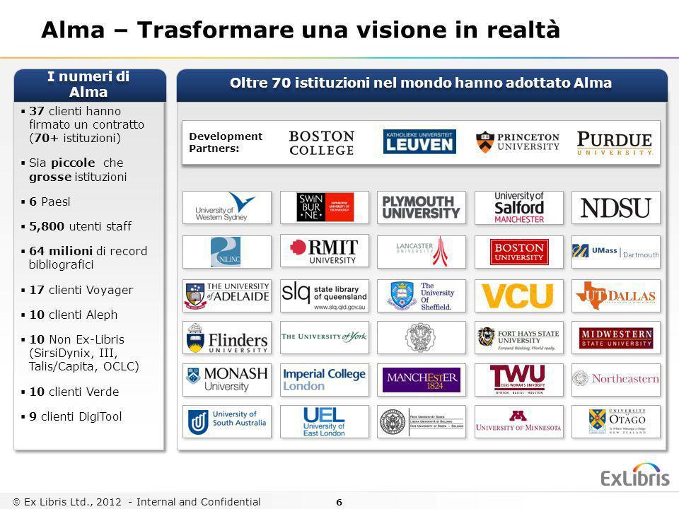 6 Ex Libris Ltd., 2012 - Internal and Confidential Development Partners: Development Partners: Alma – Trasformare una visione in realtà 37 clienti han
