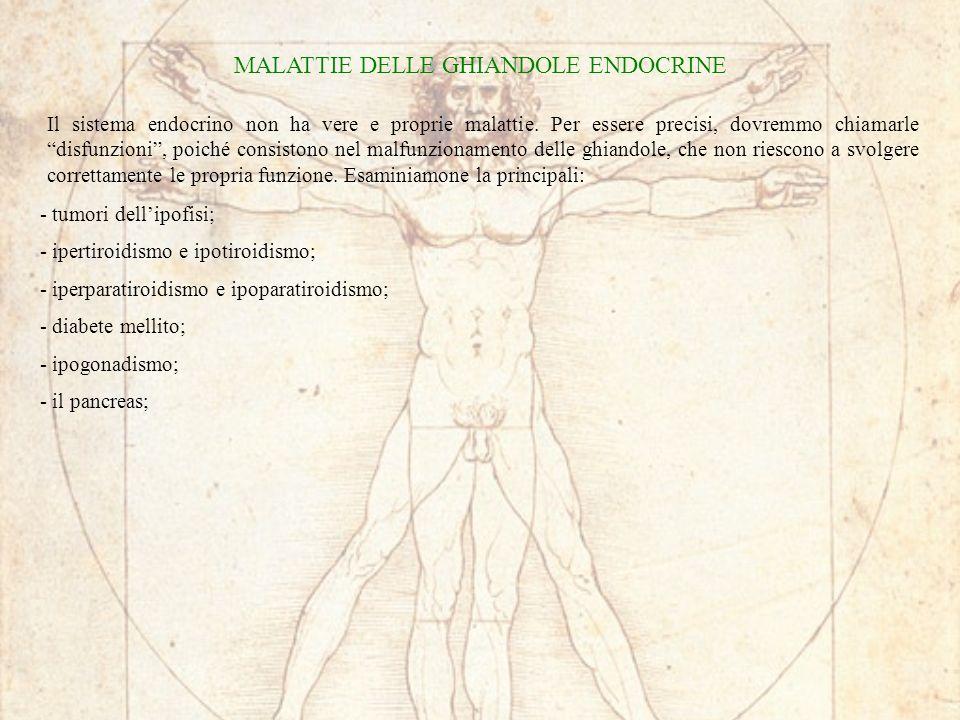 MALATTIE DELLE GHIANDOLE ENDOCRINE Il sistema endocrino non ha vere e proprie malattie. Per essere precisi, dovremmo chiamarle disfunzioni, poiché con