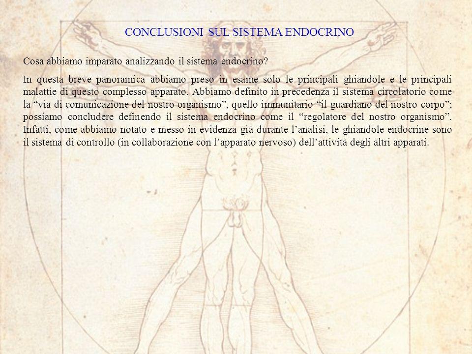 CONCLUSIONI SUL SISTEMA ENDOCRINO Cosa abbiamo imparato analizzando il sistema endocrino.