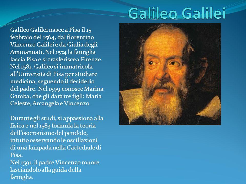 Galileo Galilei nasce a Pisa il 15 febbraio del 1564, dal fiorentino Vincenzo Galilei e da Giulia degli Ammannati.