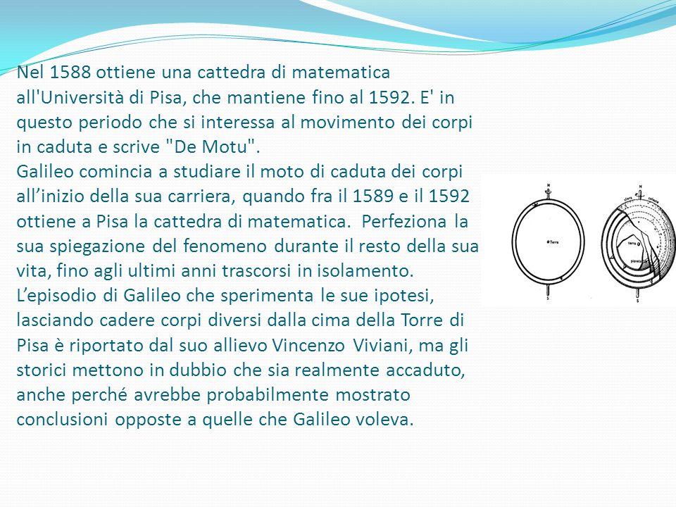 Nel 1588 ottiene una cattedra di matematica all Università di Pisa, che mantiene fino al 1592.