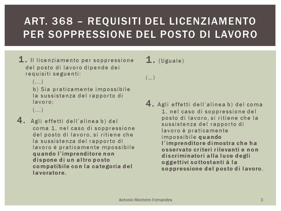 1. Il licenziamento per soppressione del posto di lavoro dipende dei requisiti seguenti: (...) b) Sia praticamente impossibile la sussistenza del rapp