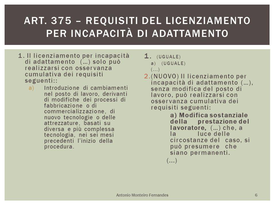 1. Il licenziamento per incapacità di adattamento (…) solo può realizzarsi con osservanza cumulativa dei requisiti seguenti:: a)Introduzione di cambia