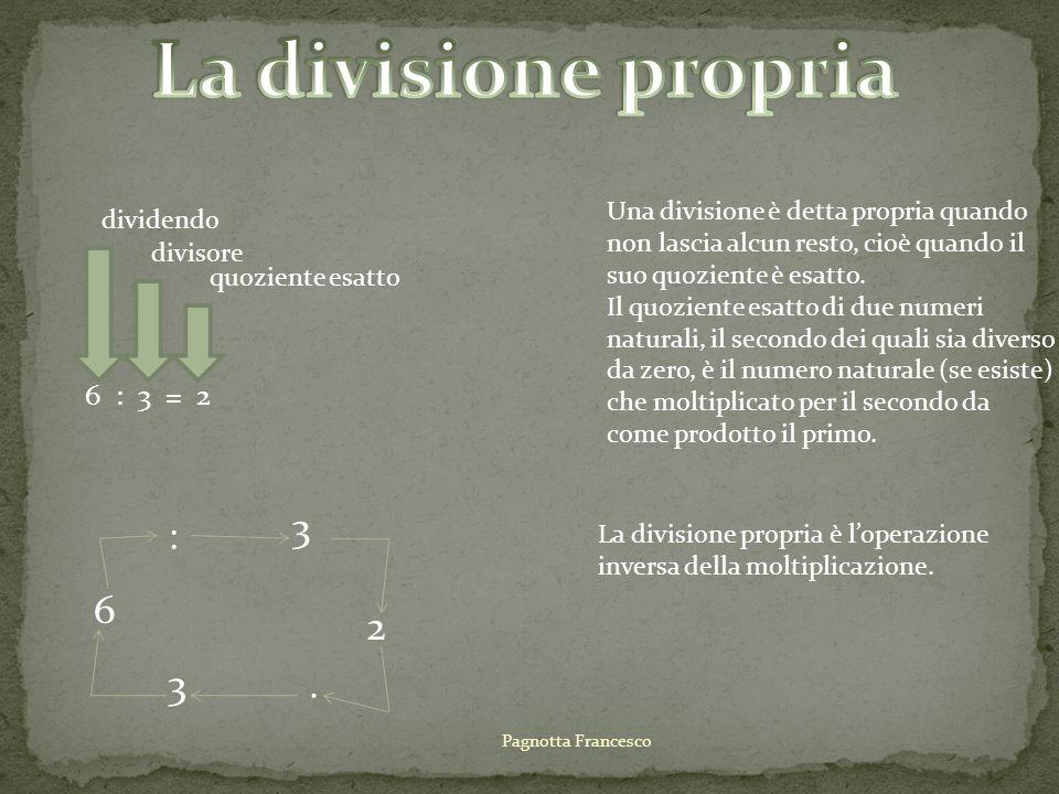 6 : 3 = 2 dividendo quoziente esatto divisore Una divisione è detta propria quando non lascia alcun resto, cioè quando il suo quoziente è esatto. Il q