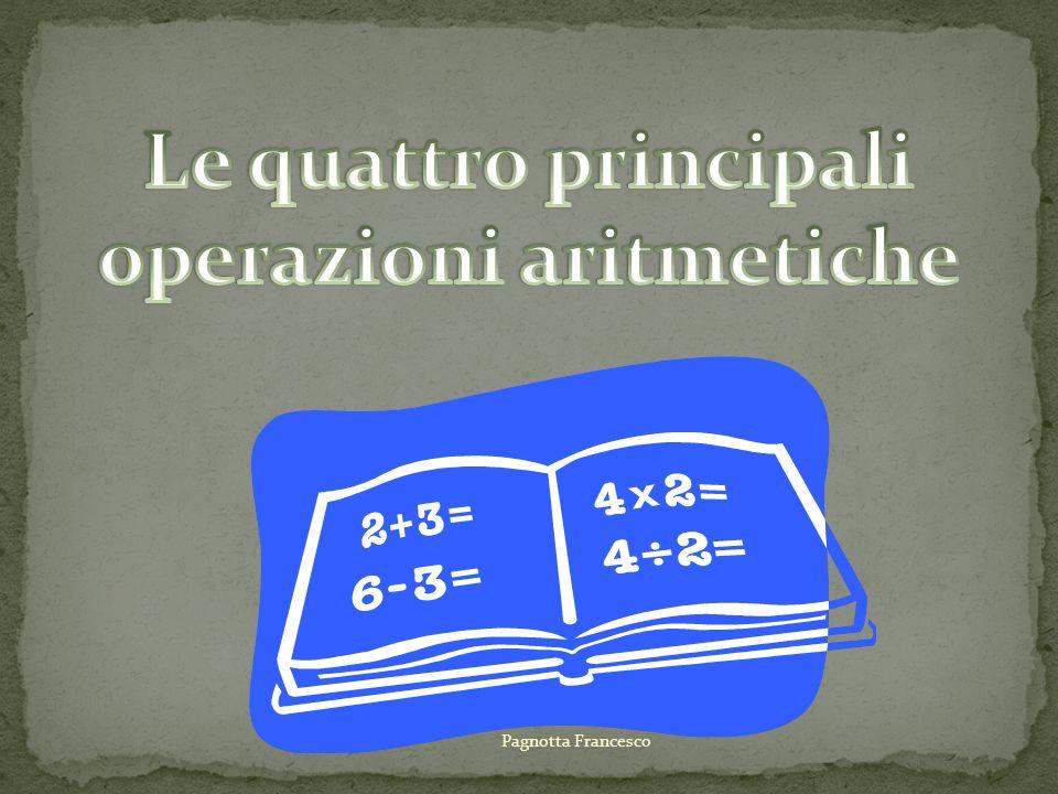 2 + 5 = 7 1° addendo 2° addendo somma La somma dei numeri naturali è il numero al quale perveniamo Contando di seguito al primo, lungo La successione dei numeri naturali, Tante unità quante sono indicate dal secondo Pagnotta Francesco