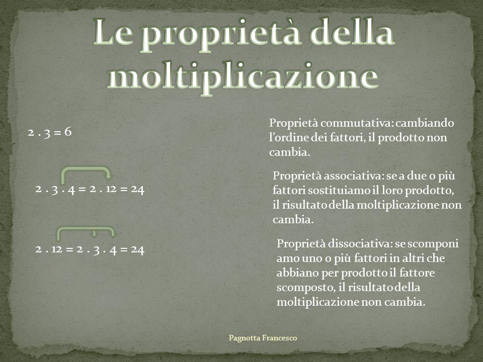2. 3 = 6 Proprietà commutativa: cambiando lordine dei fattori, il prodotto non cambia. 2. 3. 4 = 2. 12 = 24 Proprietà associativa: se a due o più fatt
