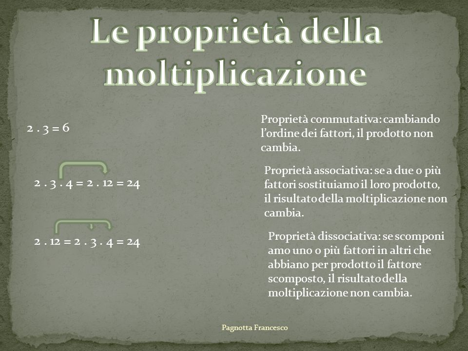 2.3 + 4 = 2. 3 + 2. 4 = 6 + 8 = 14 Proprietà distributiva:.
