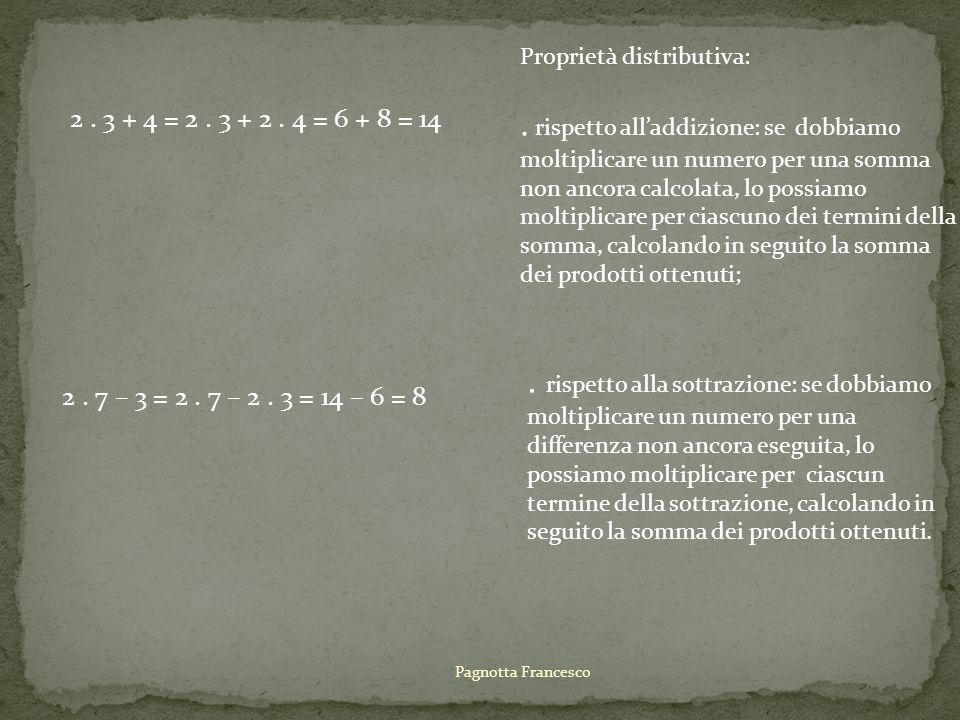 2. 3 + 4 = 2. 3 + 2. 4 = 6 + 8 = 14 Proprietà distributiva:. rispetto alladdizione: se dobbiamo moltiplicare un numero per una somma non ancora calcol