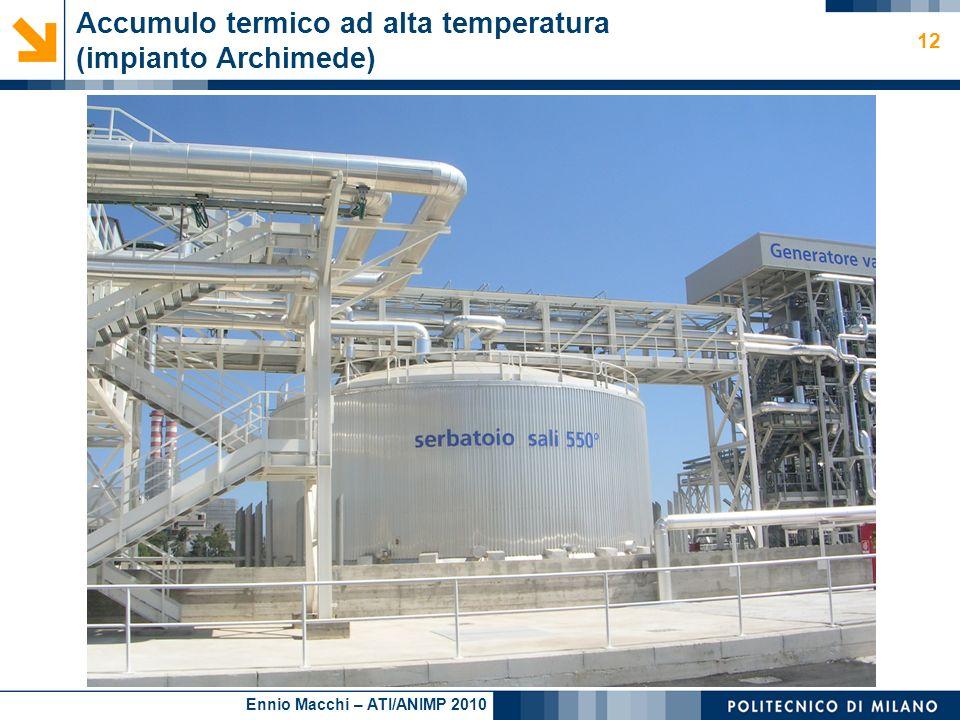 Ennio Macchi – ATI/ANIMP 2010 Accumulo termico ad alta temperatura (impianto Archimede) 12