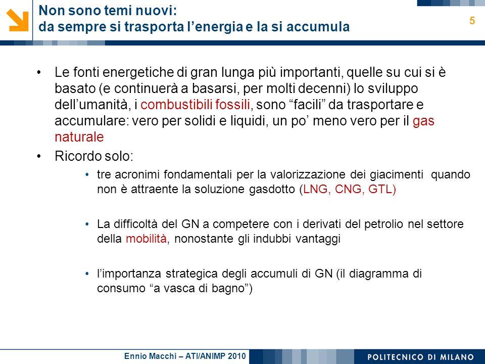 Ennio Macchi – ATI/ANIMP 2010 Non sono temi nuovi: da sempre si trasporta lenergia e la si accumula Le fonti energetiche di gran lunga più importanti,
