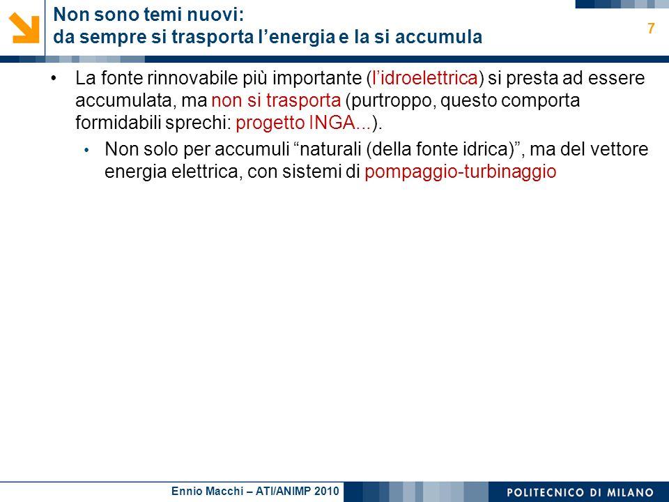 Ennio Macchi – ATI/ANIMP 2010 Non sono temi nuovi: da sempre si trasporta lenergia e la si accumula La fonte rinnovabile più importante (lidroelettric