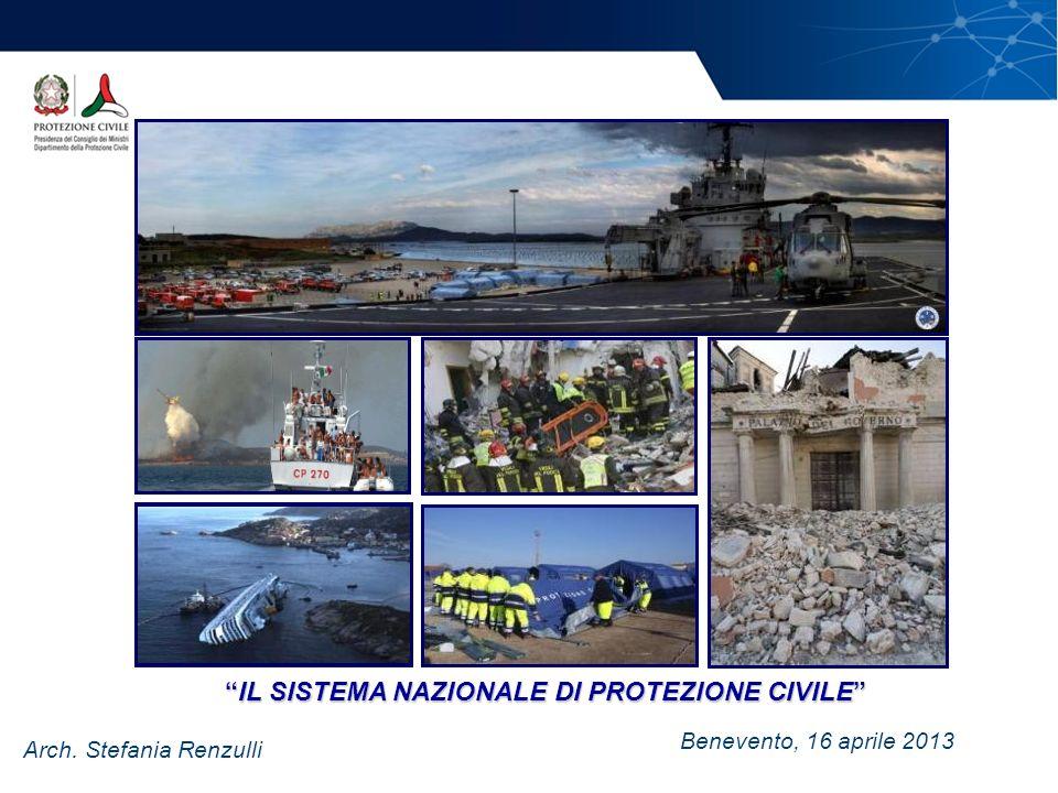 Benevento, 16 aprile 2013 Arch. Stefania Renzulli IL SISTEMA NAZIONALE DI PROTEZIONE CIVILEIL SISTEMA NAZIONALE DI PROTEZIONE CIVILE