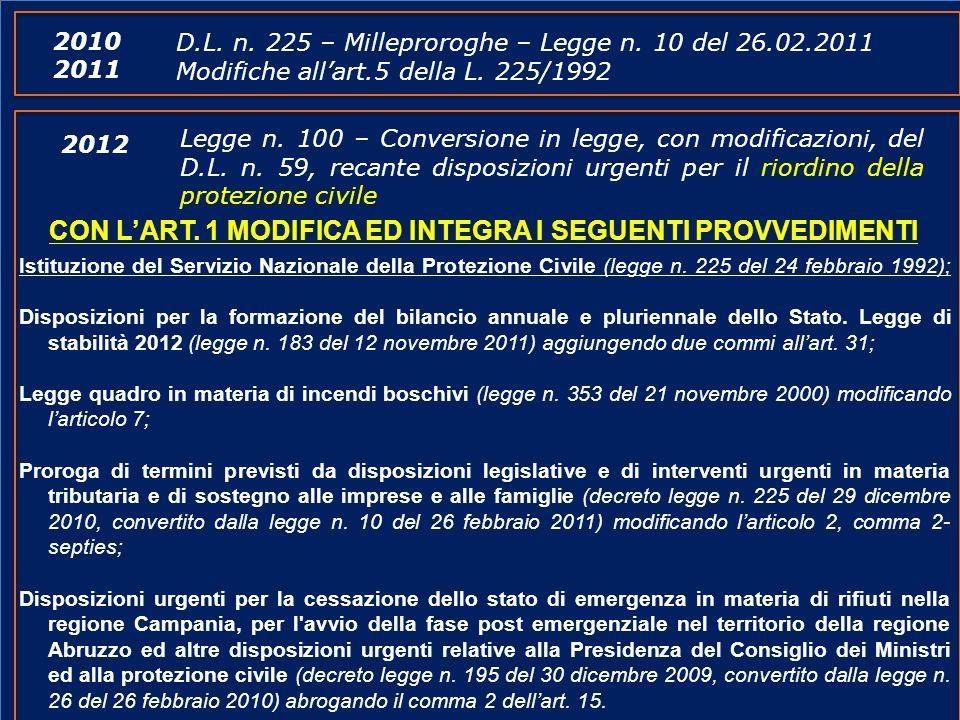 www.protezionecivile.gov.it Legge n. 100 – Conversione in legge, con modificazioni, del D.L. n. 59, recante disposizioni urgenti per il riordino della
