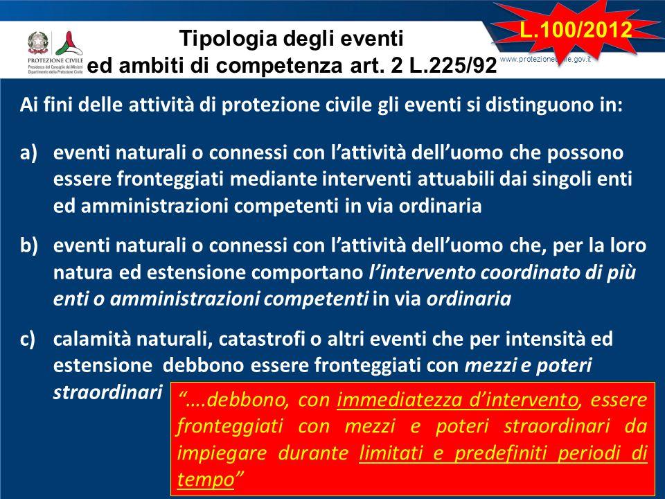 www.protezionecivile.gov.it Ai fini delle attività di protezione civile gli eventi si distinguono in: a)eventi naturali o connessi con lattività dellu