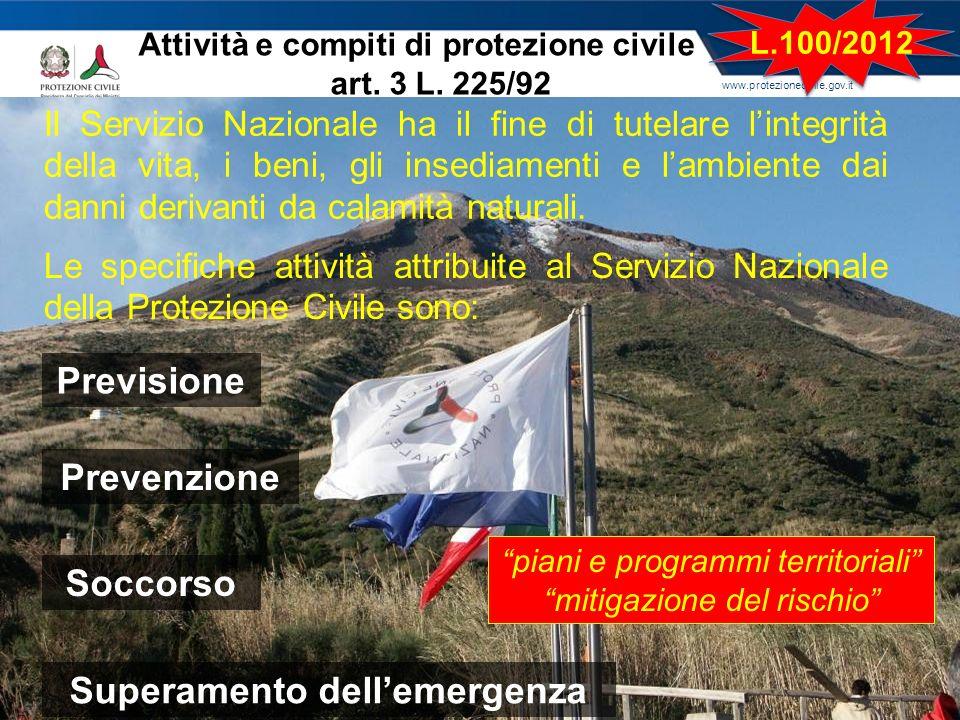 www.protezionecivile.gov.it Il Servizio Nazionale ha il fine di tutelare lintegrità della vita, i beni, gli insediamenti e lambiente dai danni derivan