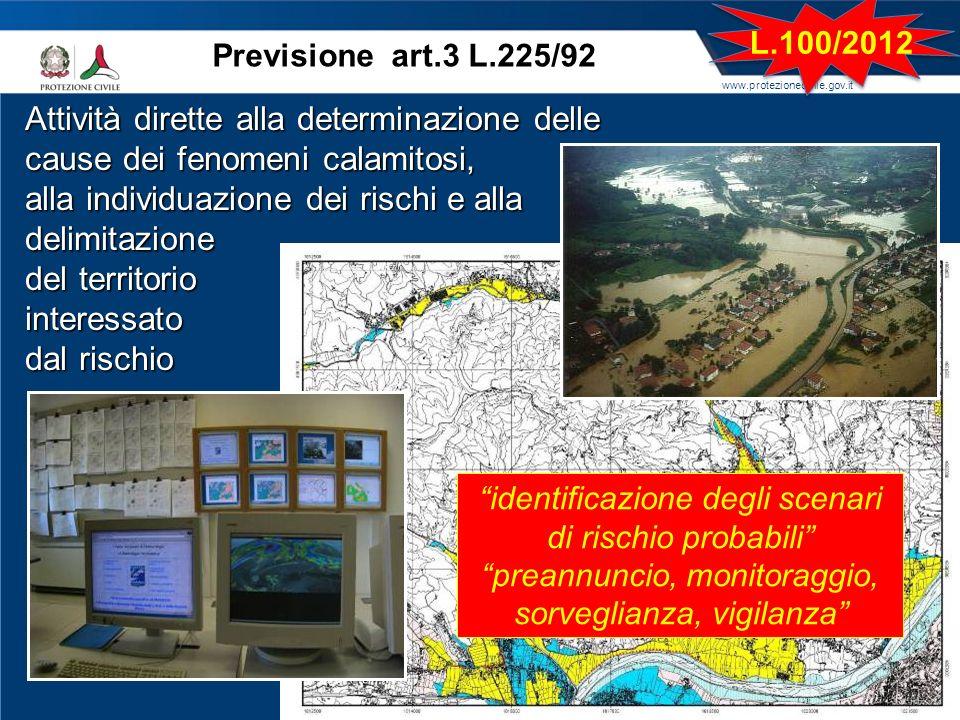www.protezionecivile.gov.it Previsione art.3 L.225/92 Attività dirette alla determinazione delle cause dei fenomeni calamitosi, alla individuazione de