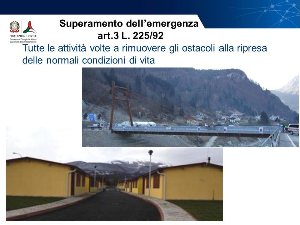 Tutte le attività volte a rimuovere gli ostacoli alla ripresa delle normali condizioni di vita Superamento dellemergenza art.3 L. 225/92