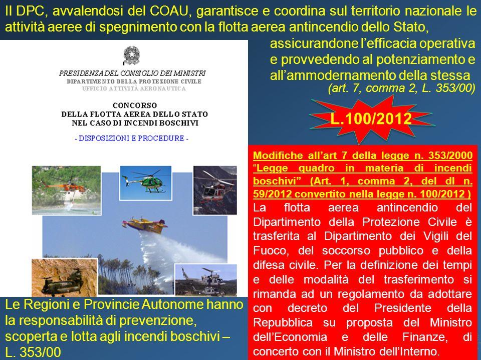 Il DPC, avvalendosi del COAU, garantisce e coordina sul territorio nazionale le attività aeree di spegnimento con la flotta aerea antincendio dello St