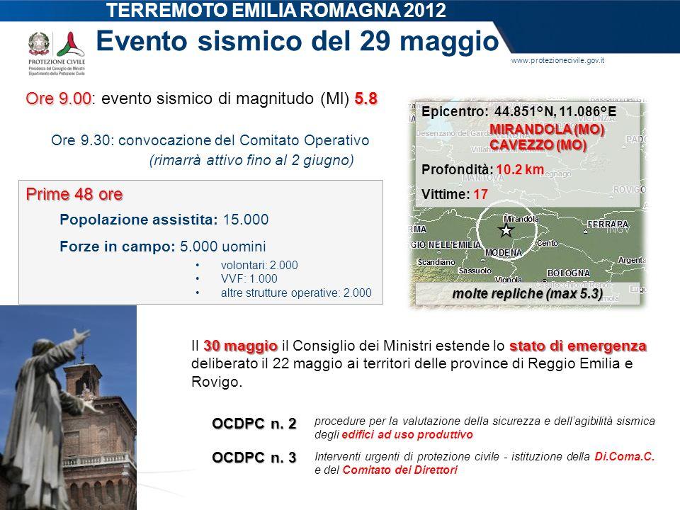 www.protezionecivile.gov.it Evento sismico del 29 maggio Ore 9.005.8 Ore 9.00: evento sismico di magnitudo (Ml) 5.8 Ore 9.30: convocazione del Comitat