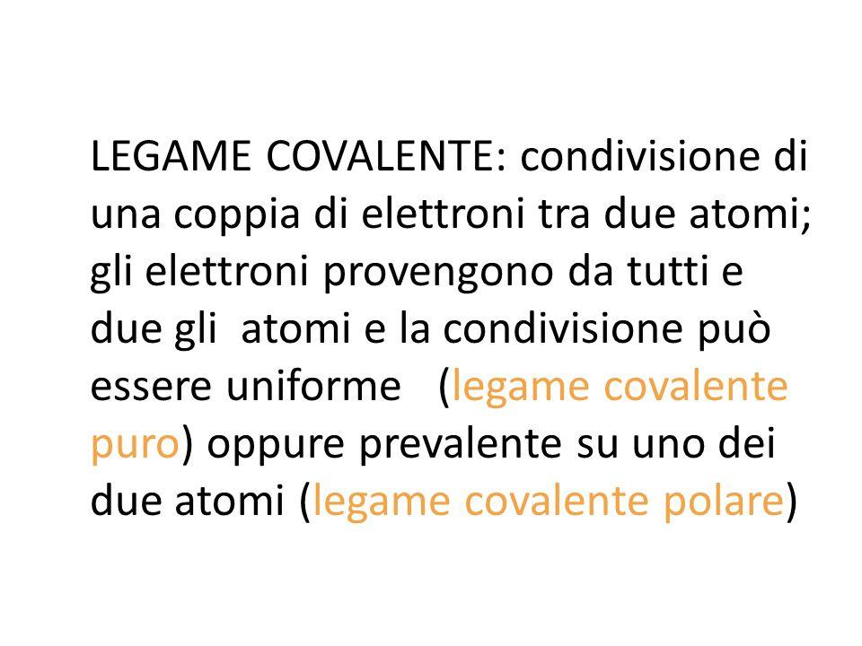 LEGAME COVALENTE: condivisione di una coppia di elettroni tra due atomi; gli elettroni provengono da tutti e due gli atomi e la condivisione può esser