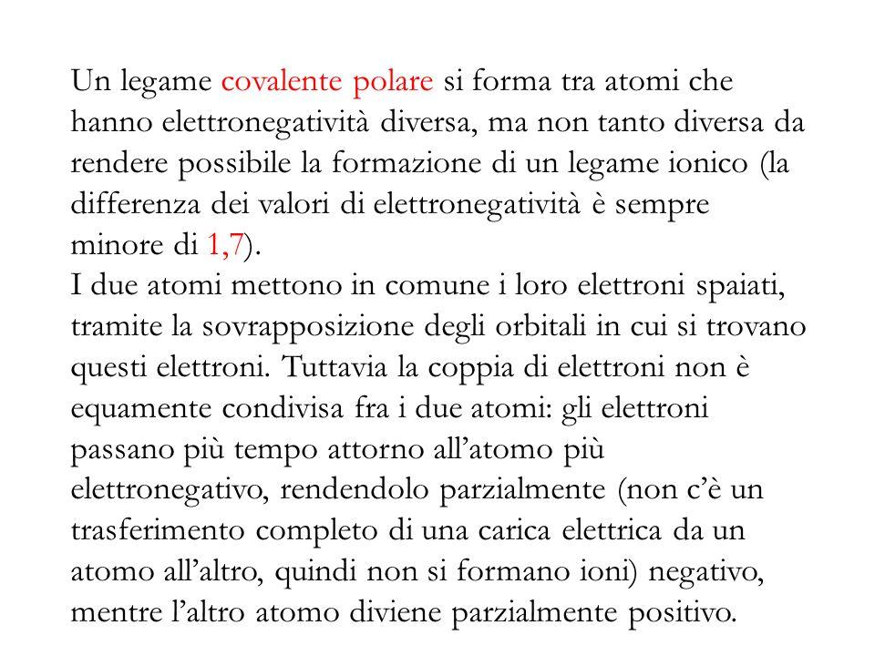 Un legame covalente polare si forma tra atomi che hanno elettronegatività diversa, ma non tanto diversa da rendere possibile la formazione di un legam