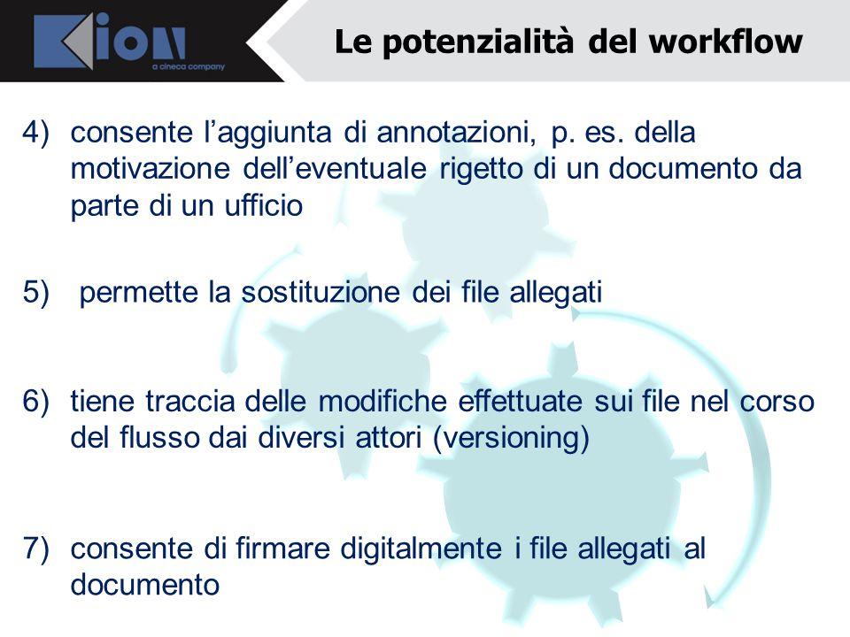 4) consente laggiunta di annotazioni, p. es. della motivazione delleventuale rigetto di un documento da parte di un ufficio 7) consente di firmare dig