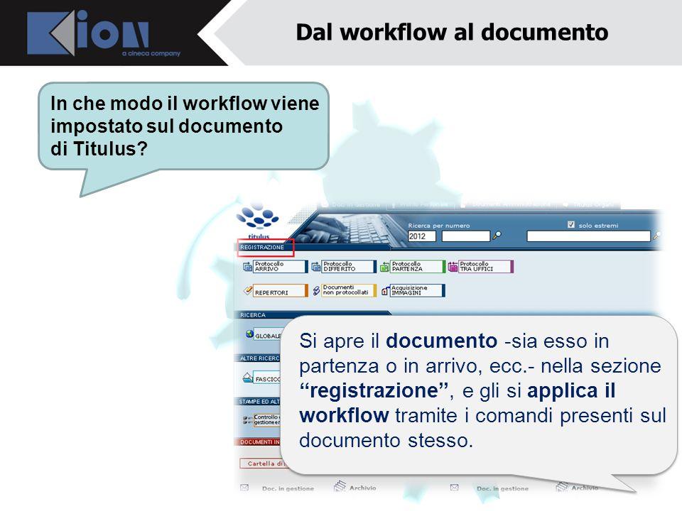 Dal workflow al documento In che modo il workflow viene impostato sul documento di Titulus? Si apre il documento -sia esso in partenza o in arrivo, ec