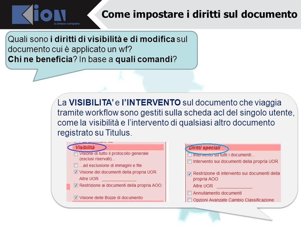 Come impostare i diritti sul documento Quali sono i diritti di visibilità e di modifica sul documento cui è applicato un wf? Chi ne beneficia? In base