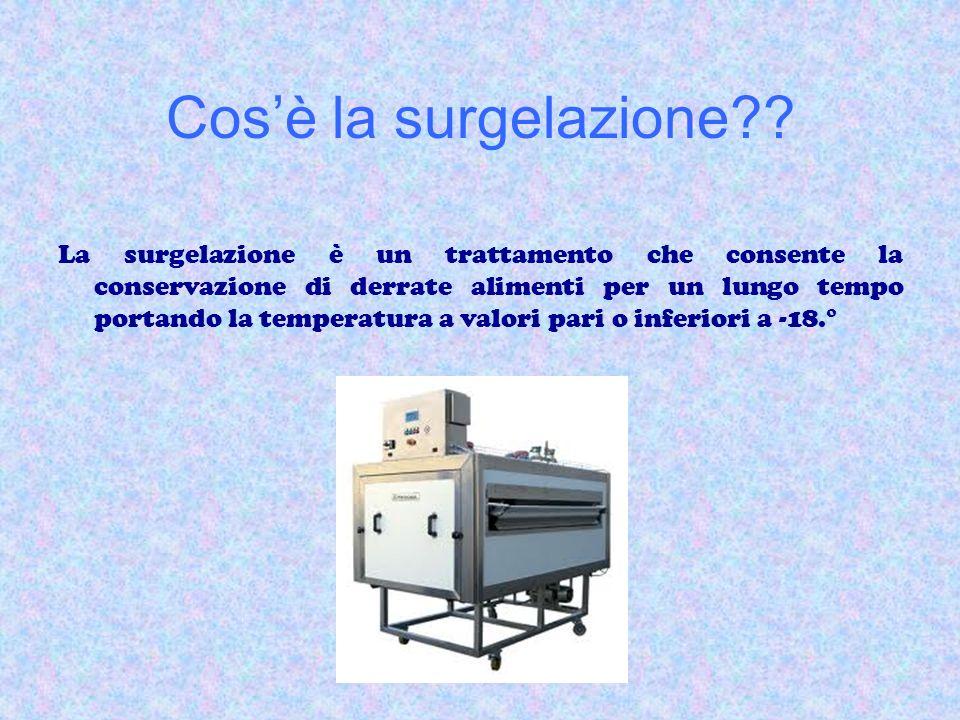 Cosè la surgelazione?? La surgelazione è un trattamento che consente la conservazione di derrate alimenti per un lungo tempo portando la temperatura a